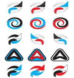Logo set abstract unusual icon vector