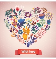 Love card with floral bouquet vector image vector image