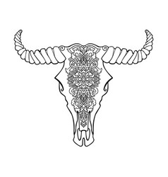 mandala tattoo style dead cow head decorative vector image vector image