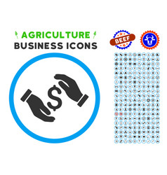 Money insurance hands rounded icon with set vector
