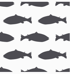 Salmon fish silhouette seamless pattern vector