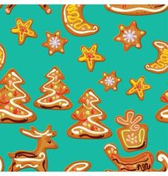 seamless christmas pattern - xmas gingerbread on b vector image