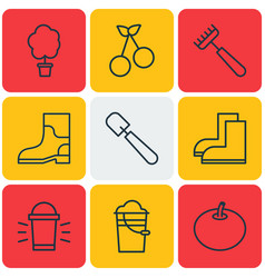 Set of 9 agriculture icons includes wood pot vector