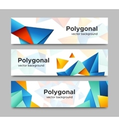 Set of horizontal polygonal banners vector image