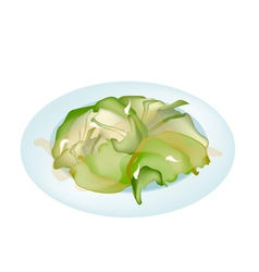 Stir fried cabbages on a white plate vector
