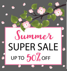 summer super sale banner with a flowering tree vector image vector image