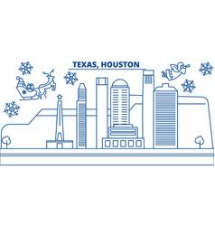 usa texas houston winter city skyline merry vector image