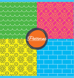 Waves flowers and bricks seamless textures vector