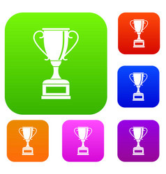winning gold cup set collection vector image vector image