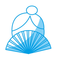 woman and hand fan icon vector image vector image