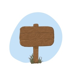 Wooden sign in snow - vector
