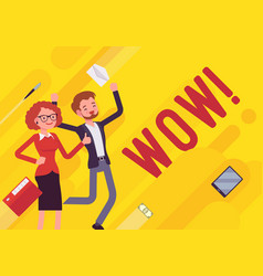 Wow business motivation poster vector