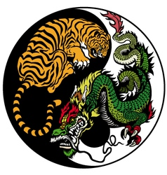 Yin yang dragon and tiger symbol vector
