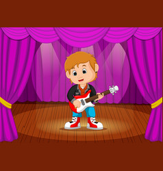 young boy playing electric guitar on stage vector image vector image