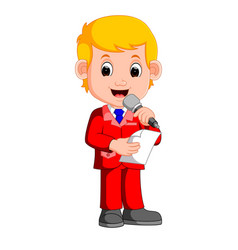 Young boy presenter vector