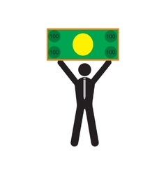 Modern flat icon man with bill on white background vector image