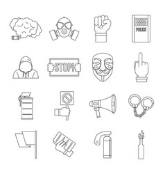 Protest icons set outline style vector