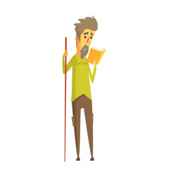 Bearded man holding a long wooden pointer and vector