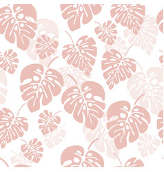 summer seamless pattern with pink monstera vector image