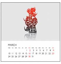 2008 calendar march vector