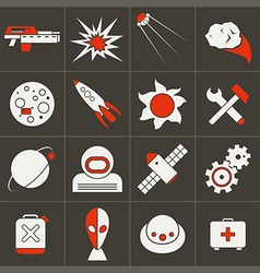 Icons space in flat style color vector