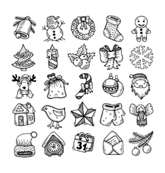 Sketch drawing christmas doodle icons vector