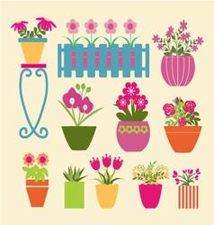 Set of pot plants garden flowers and herbs vector