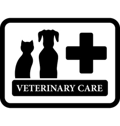 Veterinary care icon on black frame vector