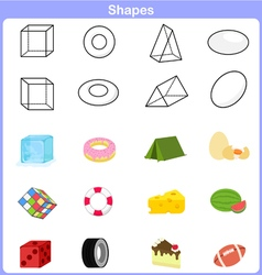 Learning the shapes with object for kids vector