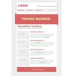 Newsletter red template vector