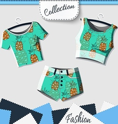 Design clothes with prints of pineapples vector