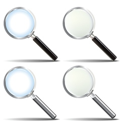 Glossy realistic magnifying glass set vector
