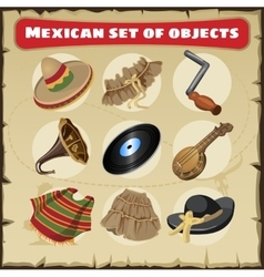 Set of traditional mexican things vector