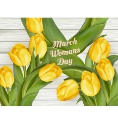 March 8 and yellow tulips eps 10 vector