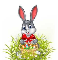 A easter bunny with a basket of painted easter egg vector