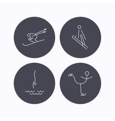 Diving figure skating and skiing icons vector