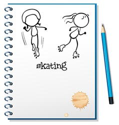 A notebook with a sketch of two people skating vector image