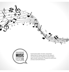 abstract Music notes and lines On white vector image