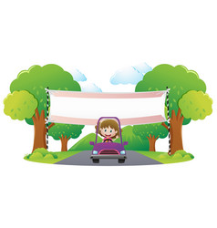 banner template with girl driving purple car vector image vector image