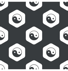 Black hexagon ying yang pattern vector