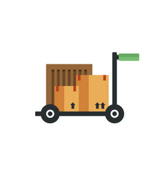 Box package warehouse on a cart icon vector