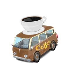 Car coffee fast food on white vector image vector image