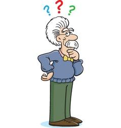 Cartoon Albert Einstein Thinking vector image