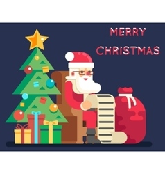Christmas santa claus tree bell gifts list new vector
