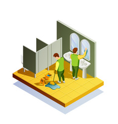 Closet cleaning isometric composition vector