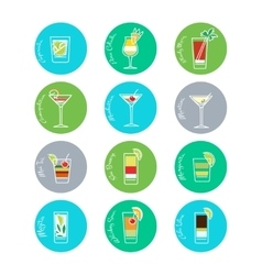 Colorful drinks icons set vector image vector image