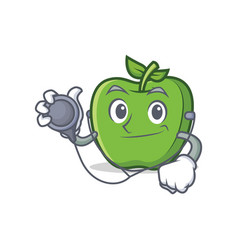 Doctor green apple character cartoon vector