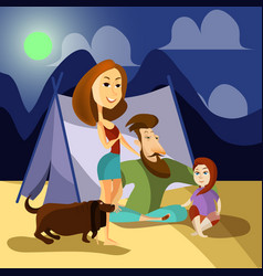 Family camping concept poster cartoon vector