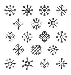 flat design line snowflakes christmas winter vector image vector image