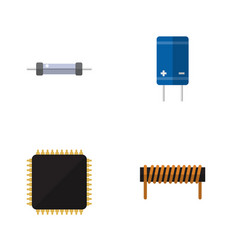 Flat icon appliance set of cpu transistor bobbin vector
